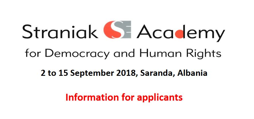 Straniak Academy for Democracy and Human Rights - Call for Applications